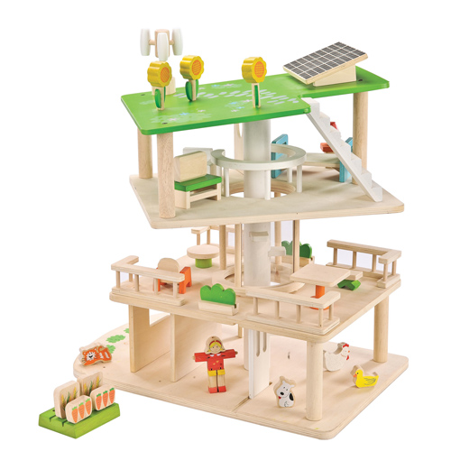 Everearth 3 Level Rotating Sustainable Dollhouse Toy Madness